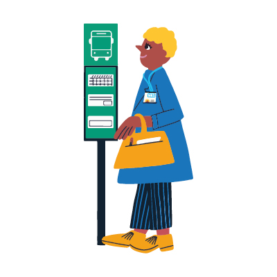 NHS worker at bus stop on white background