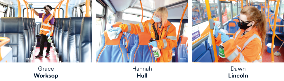 Cleaners sanitising buses