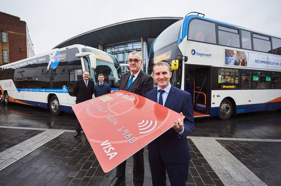 Scottish Cabinet Secretary for Transport, Infrastructure and Connectivity, Michael Matheson with members of the Stagecoach East Scotland team
