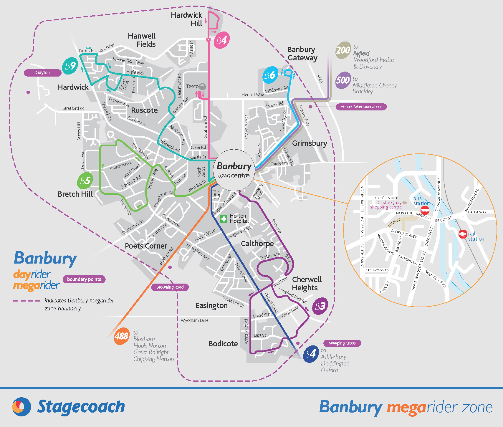 Banbury town network map