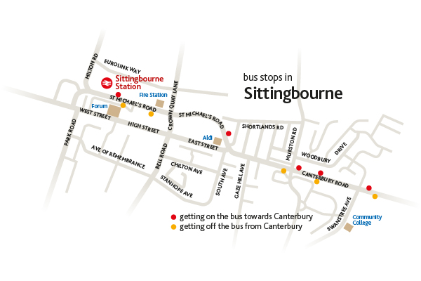 Map of Sittingbourne for route 3