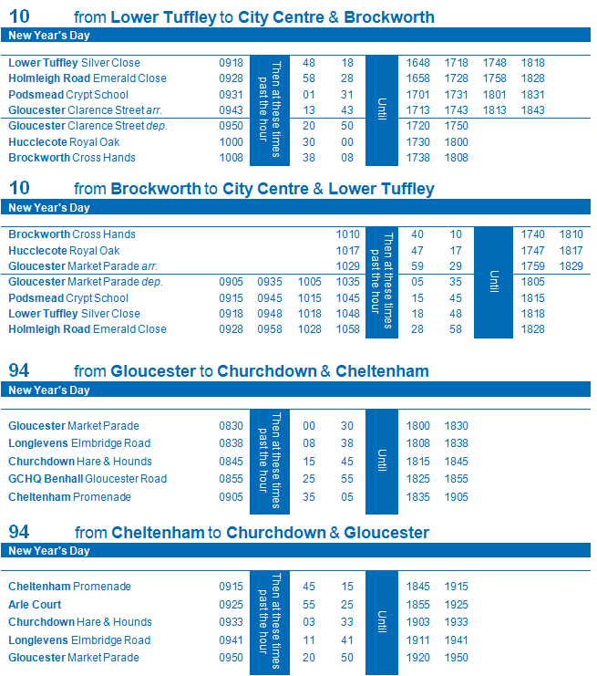 Service 10 and 94 Christmas Timetable