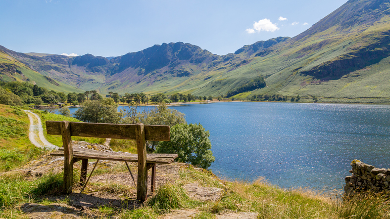 Bench overlooking Buttermere lake district