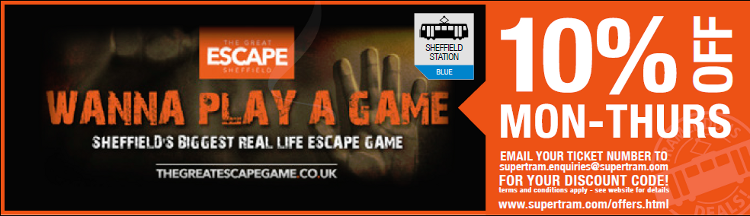 10% discount at escape Sheffield